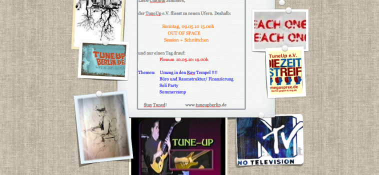 OUT OF SPACE Session – SONNTAG ab 15.00h / Plenum Montag